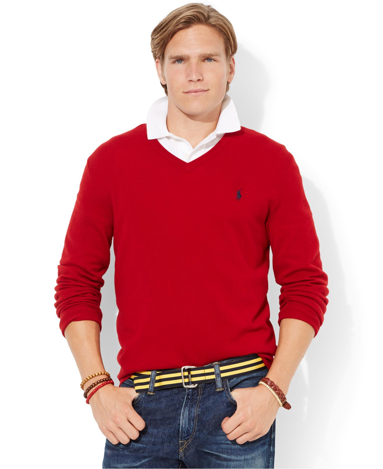 Polo ralph lauren Loryelle Merino Wool V-Neck Sweater in Red for ...