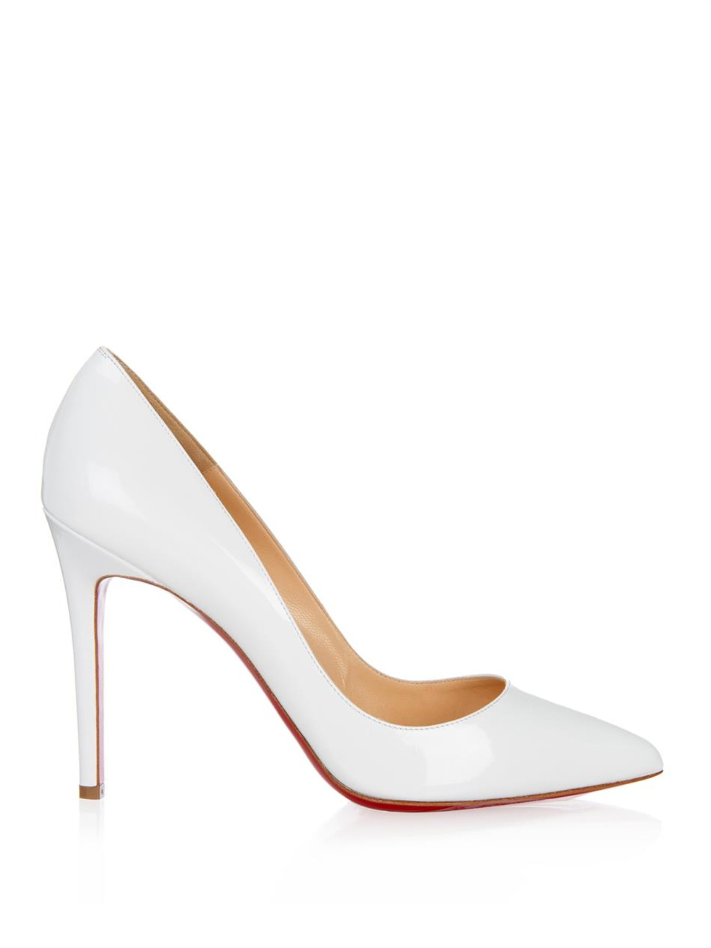 Lyst - Christian Louboutin Pigalle 100Mm Patent-Leather Pumps In White