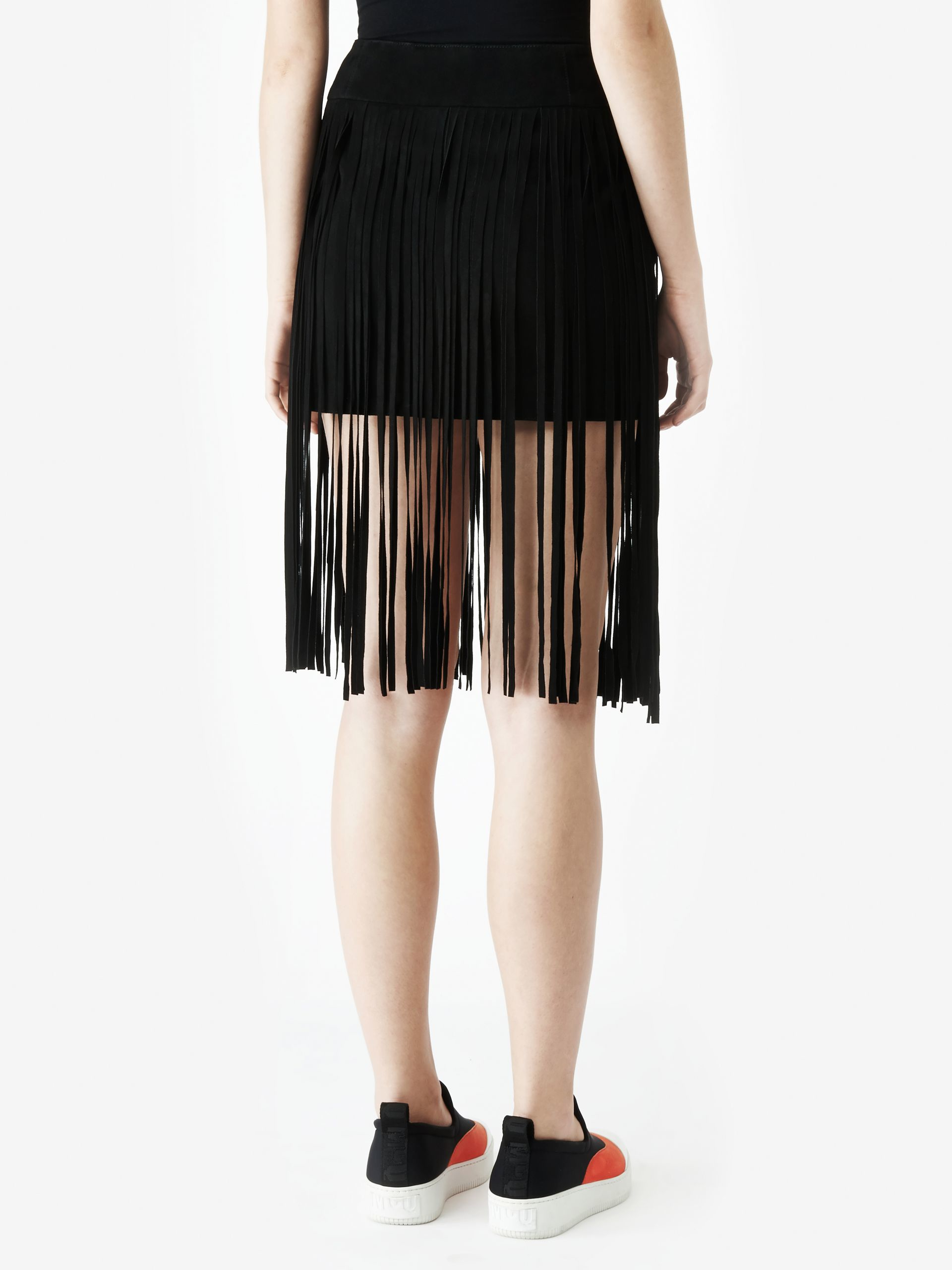 Mcq Leather Fringe Mini Skirt in Black | Lyst