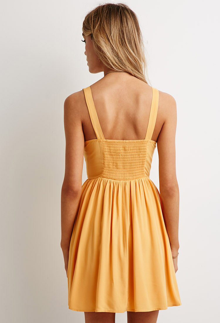 Lyst Forever 21 Smocked Back Fit Amp Flare Dress In Yellow