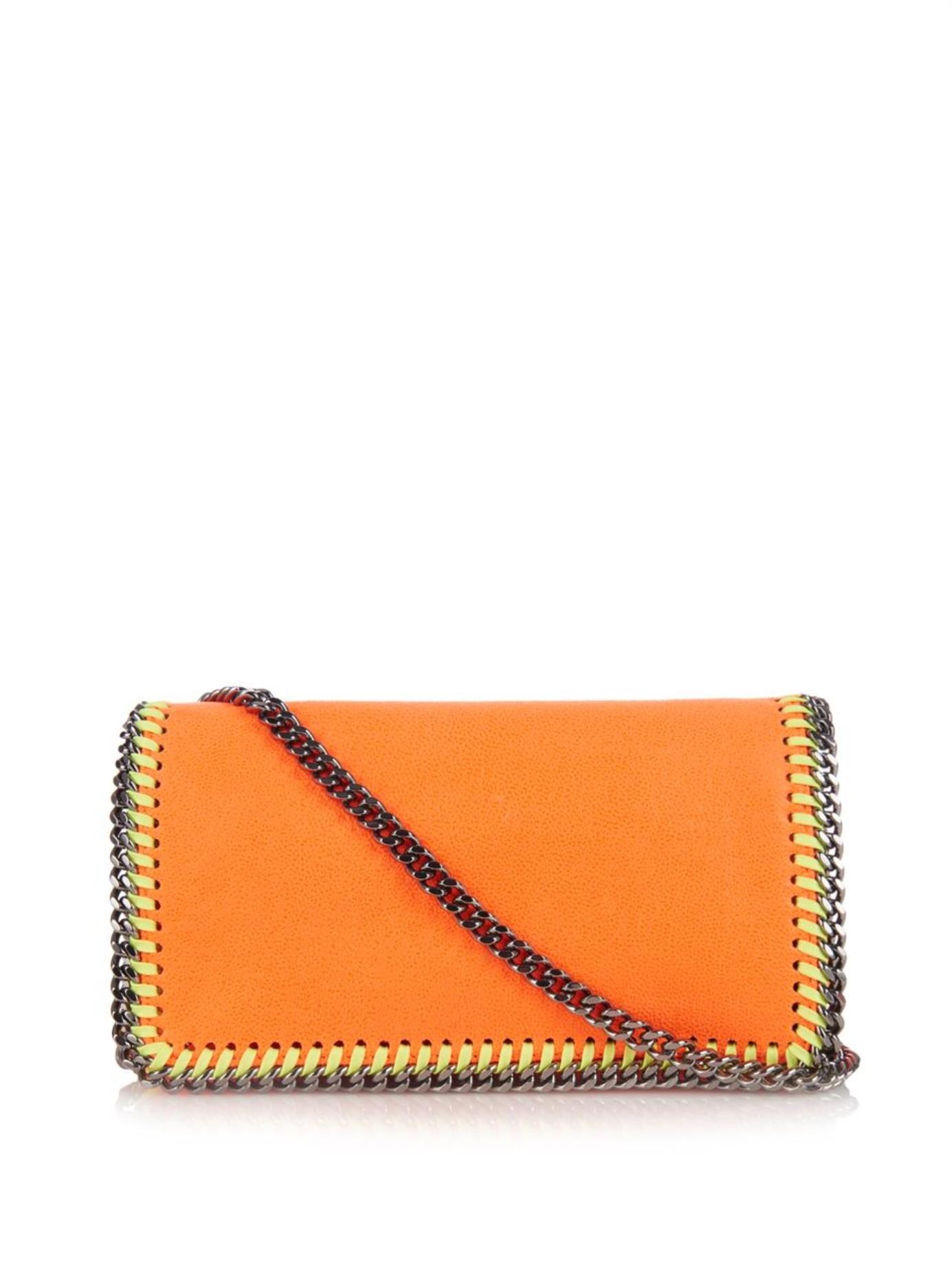 Lyst - Stella McCartney Falabella Shaggy Deer Cross-Body Bag in Orange 32633c666f905