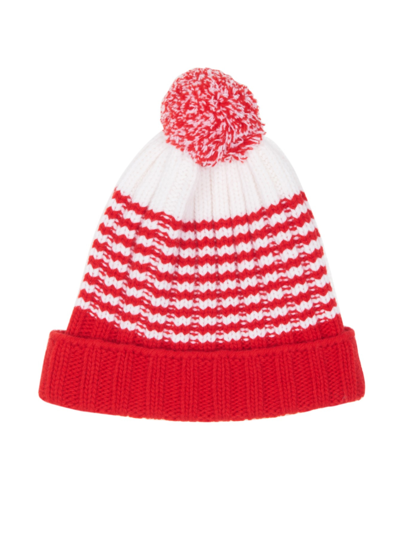 Lyst - Gucci Striped Wool Bobble Hat in Red 5797162d602