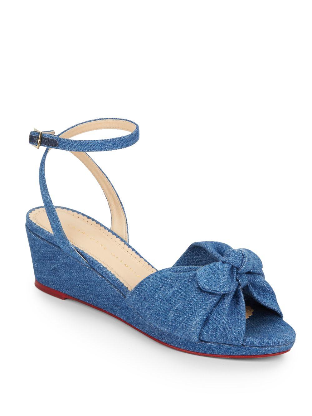 olympia denim wedge sandals in blue lyst
