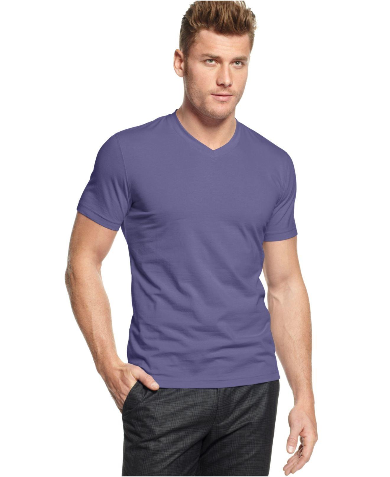 Alfani Slim Fitted V Neck T Shirt In Blue For Men Lyst