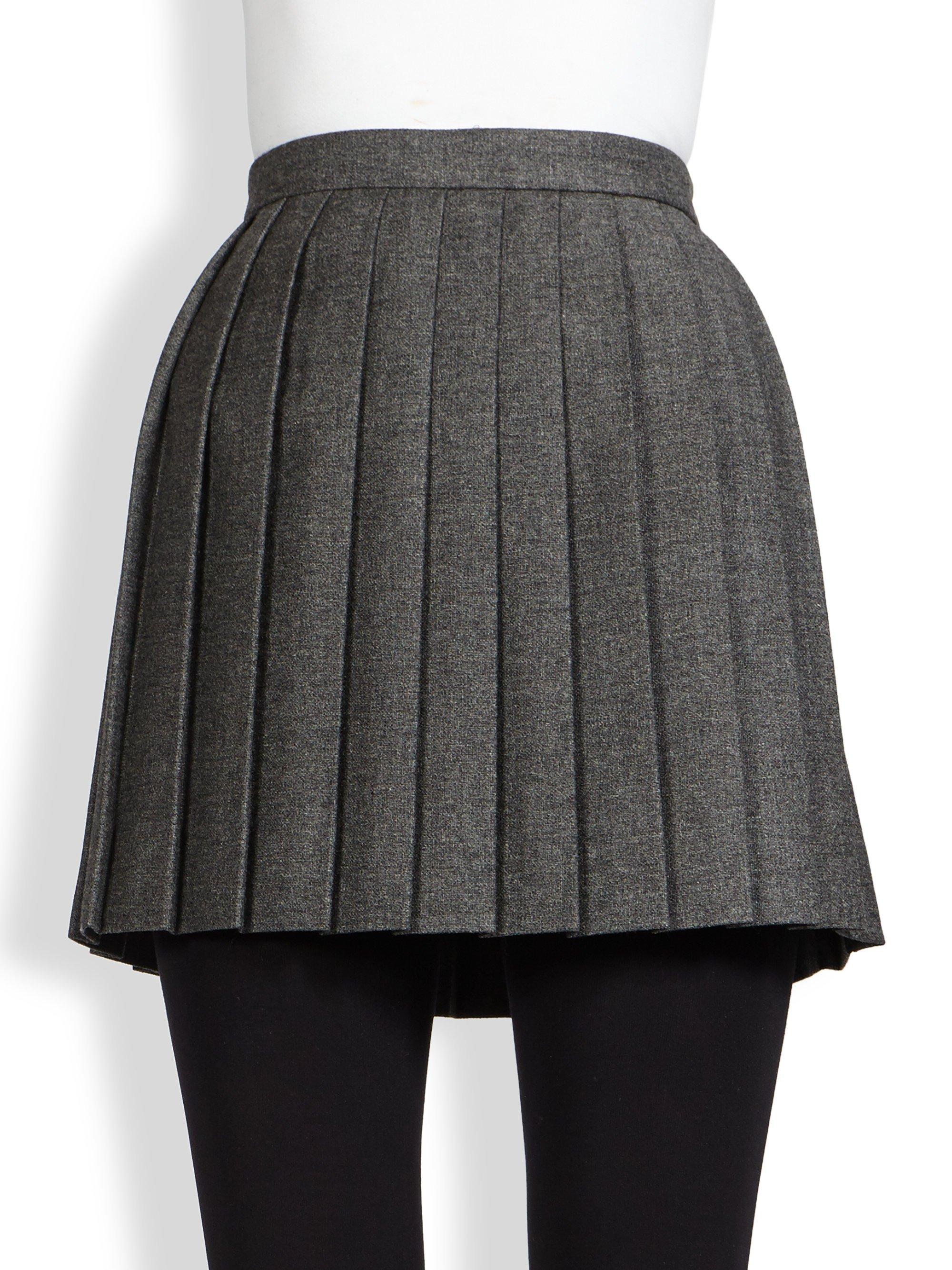 Saint laurent Pleated Wool Mini Skirt in Gray | Lyst