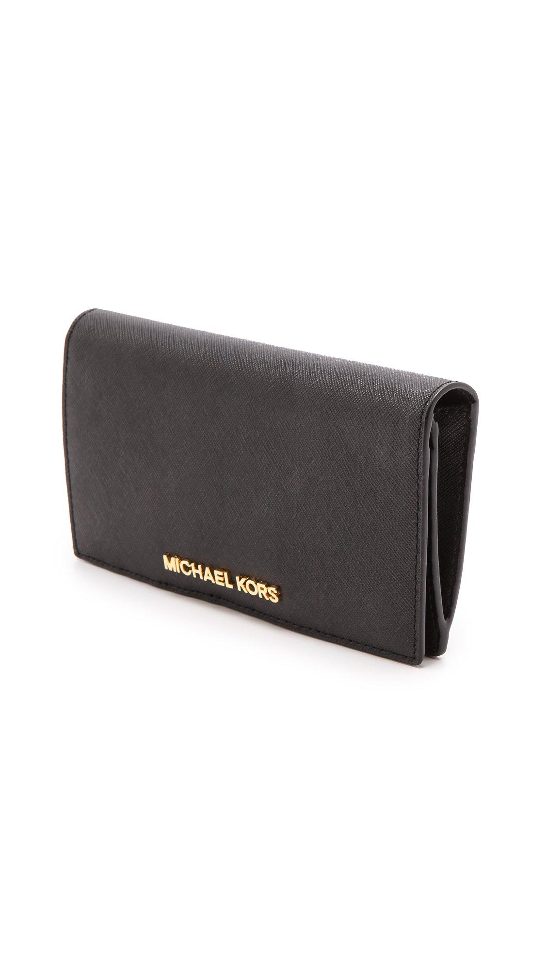 f416075b241677 MICHAEL Michael Kors Jet Set Travel Large Slim Wallet - Black in ...