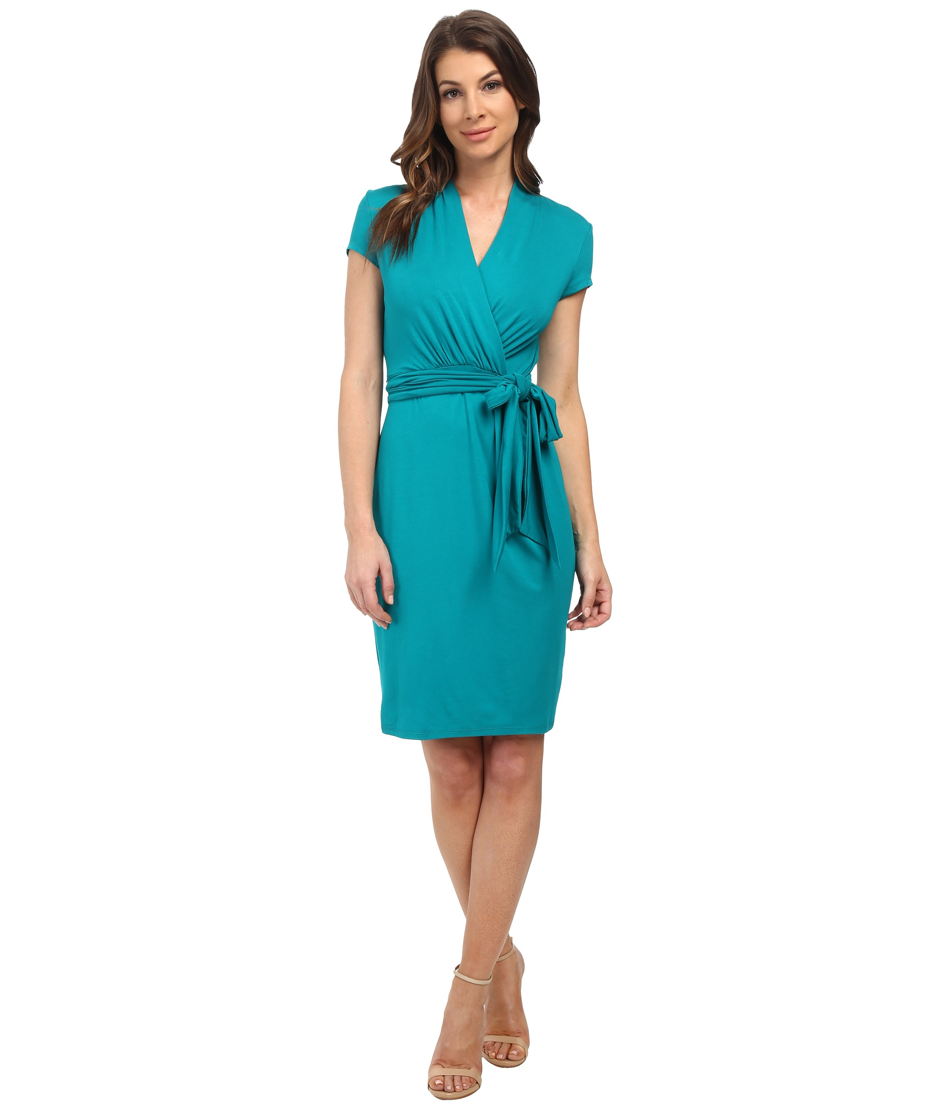 Adrianna papell Short Sleeve Wrap Dress in Blue | Lyst