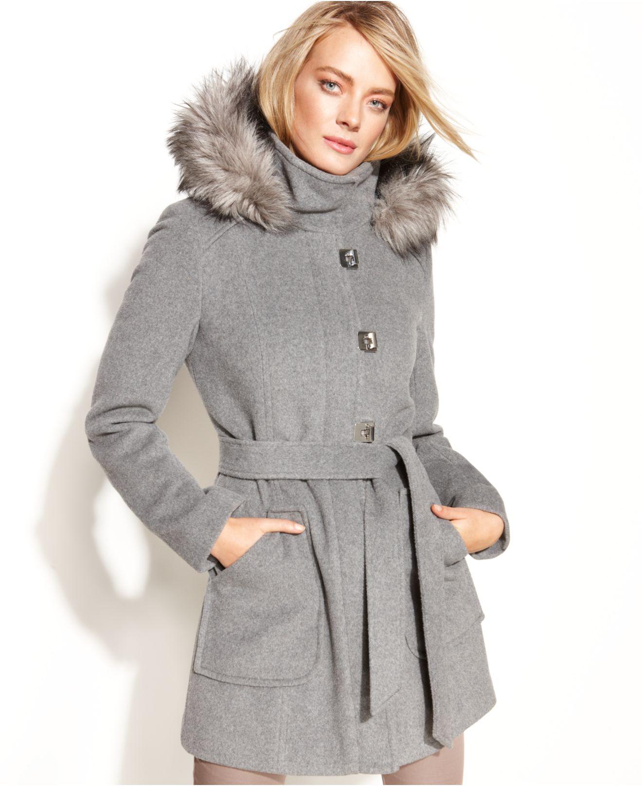 Calvin Klein Turn-Key Hooded Faux-Fur-Trim Coat In Gray