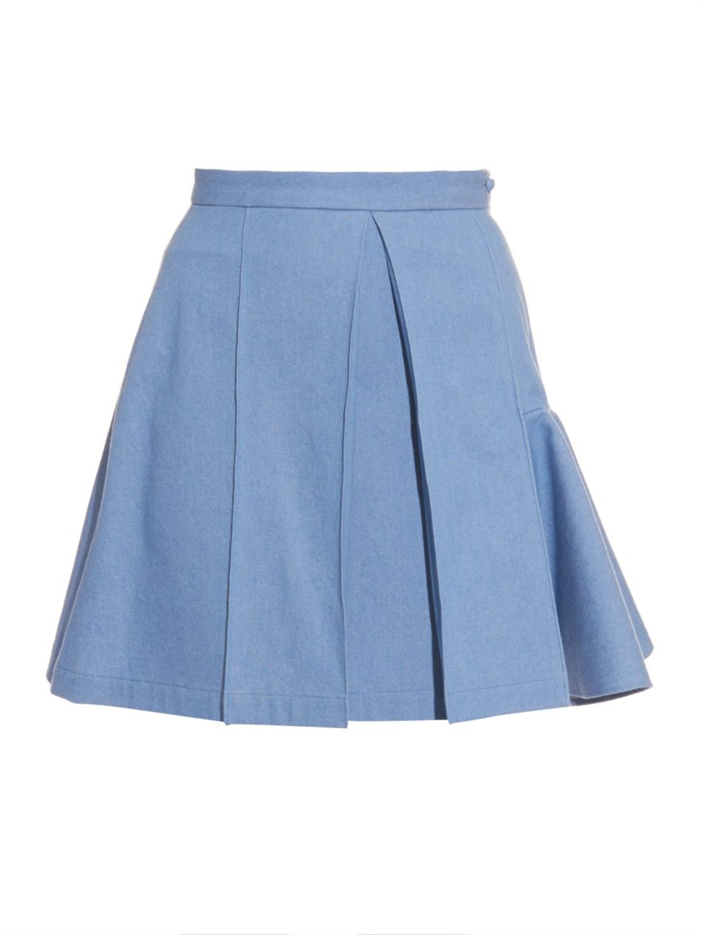 julien david pleated lightweight denim skirt in blue lyst