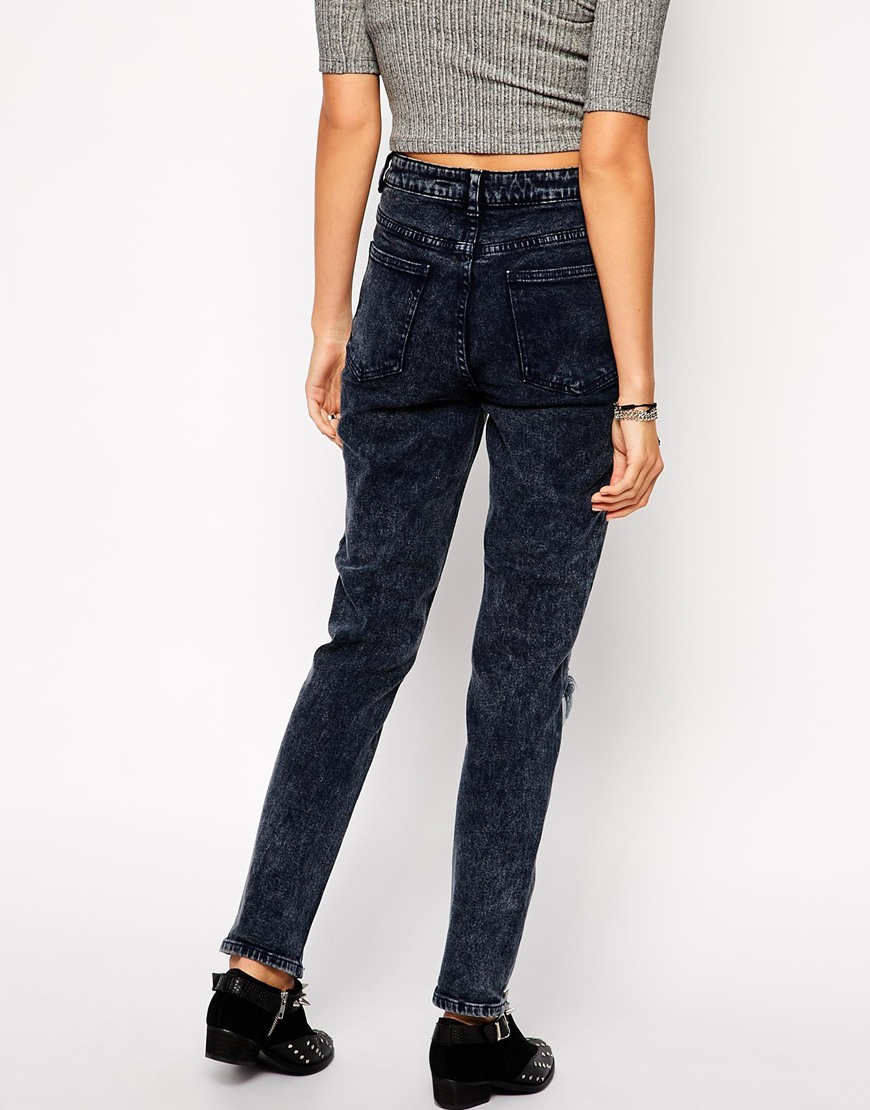 lyst asos farleigh high waist slim mom jeans in storm. Black Bedroom Furniture Sets. Home Design Ideas
