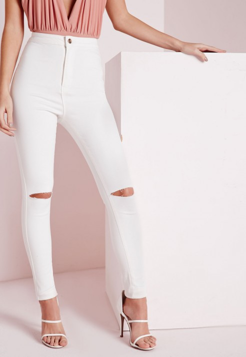 Missguided High Waisted Slash Knee Skinny Jeans White in White | Lyst