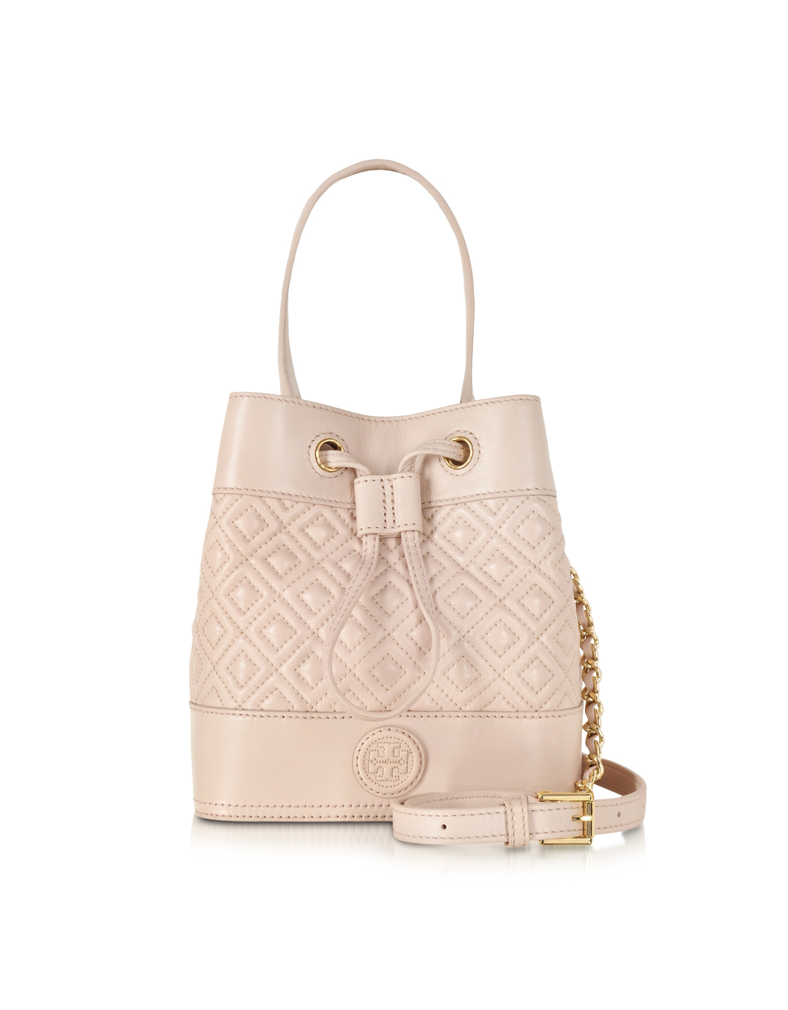 dcc0e9d8b3e Lyst Tory Burch Marion Light Oak Quilted Mini Bucket Bag In Natural. 378 00  229. Tory Burch Block T ...