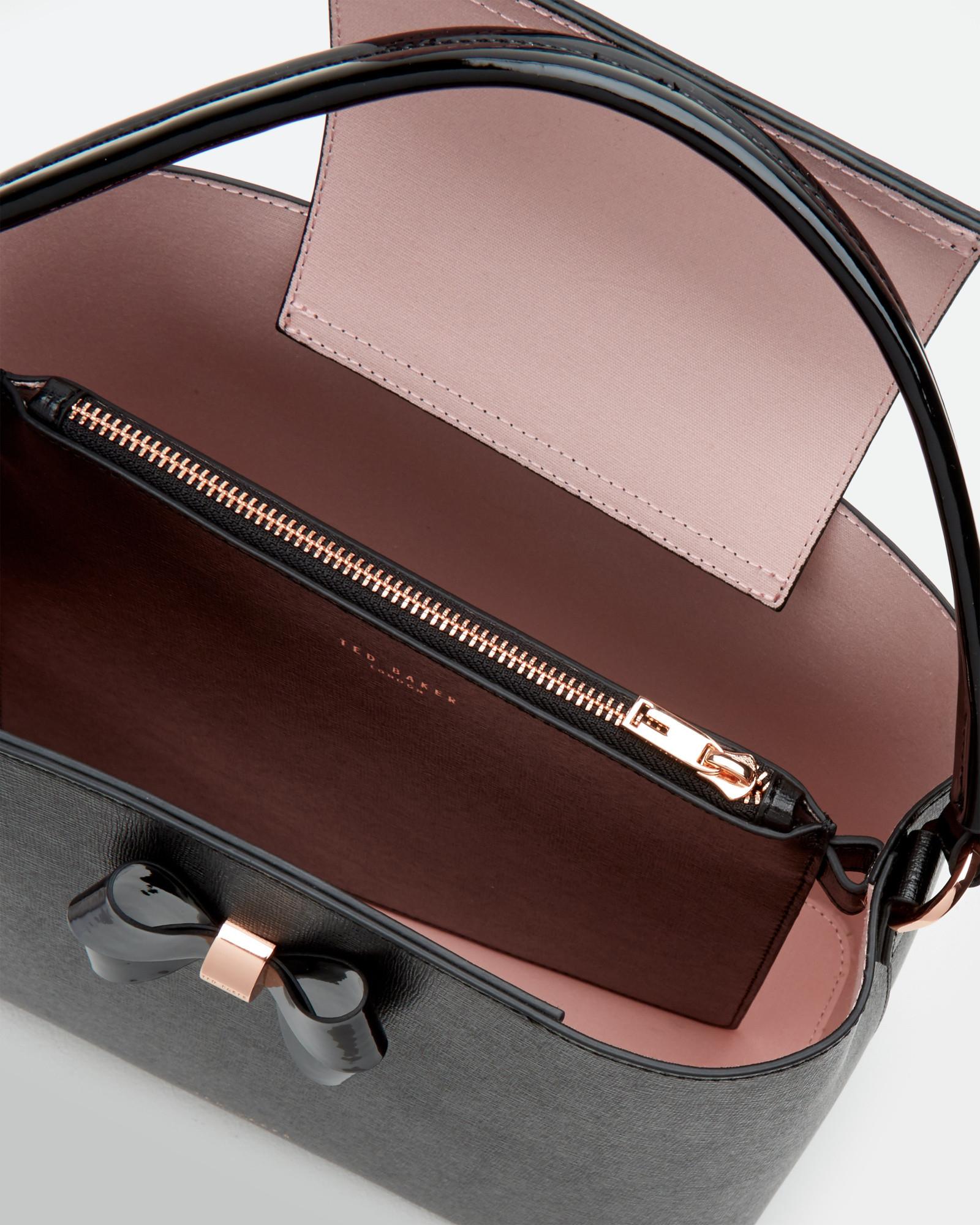 da6555a2f660b8 Lyst Ted Baker Crosshatch Leather Tote Bag In Black ...