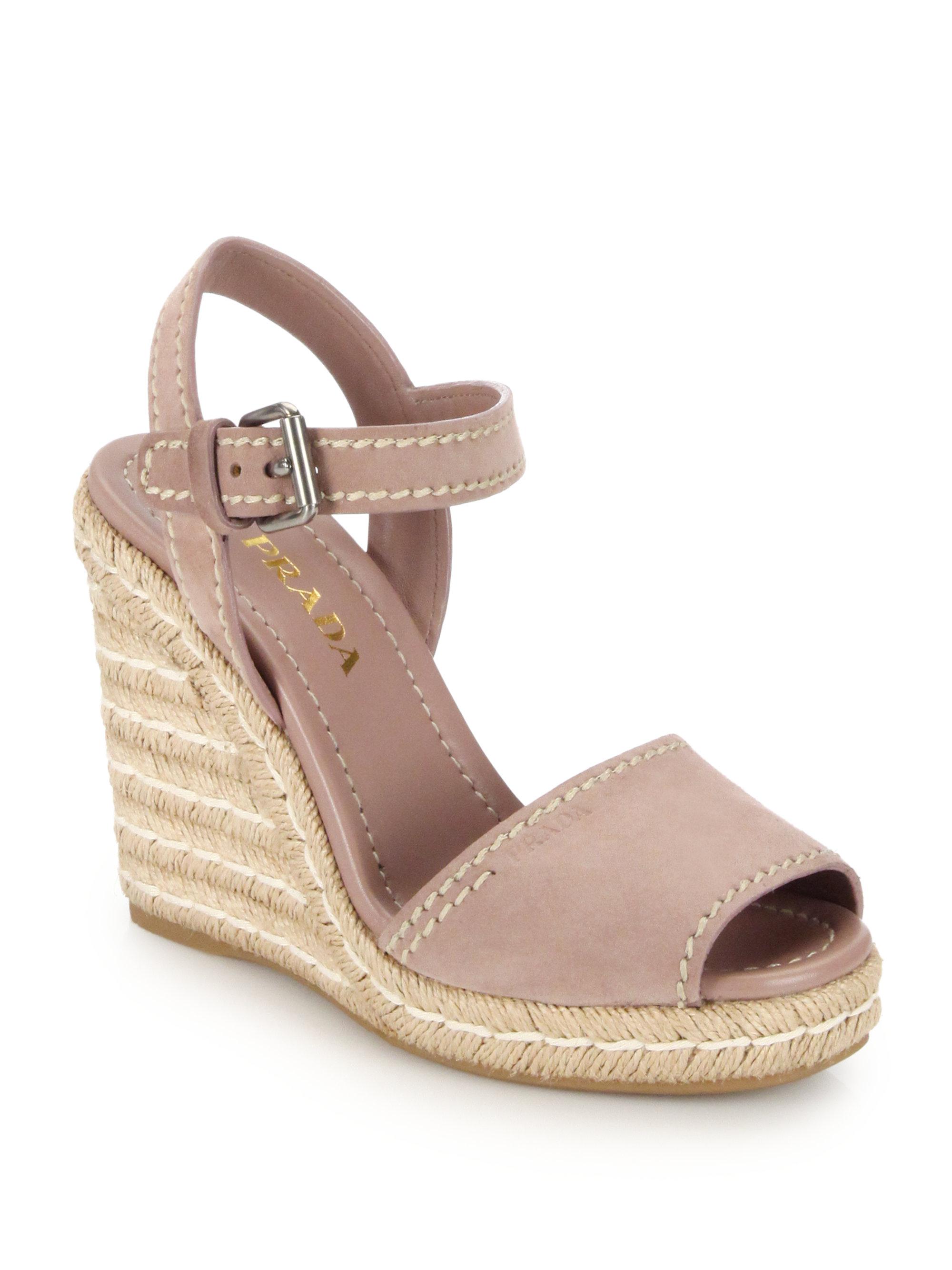Lyst Prada Suede Peep Toe Espadrille Sandals In Pink