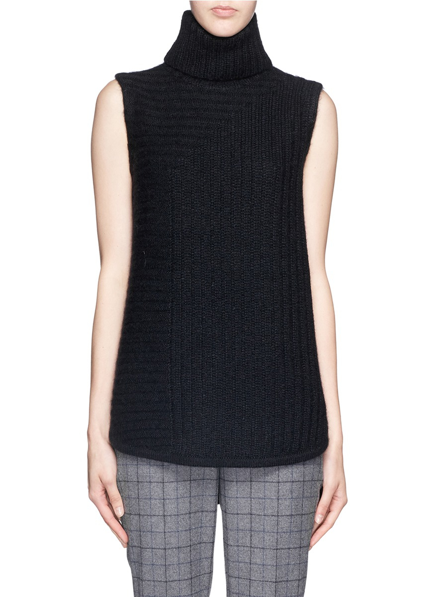 Theory beylor T Chunky Knit Turtleneck Sleeveless Sweater in Black ...