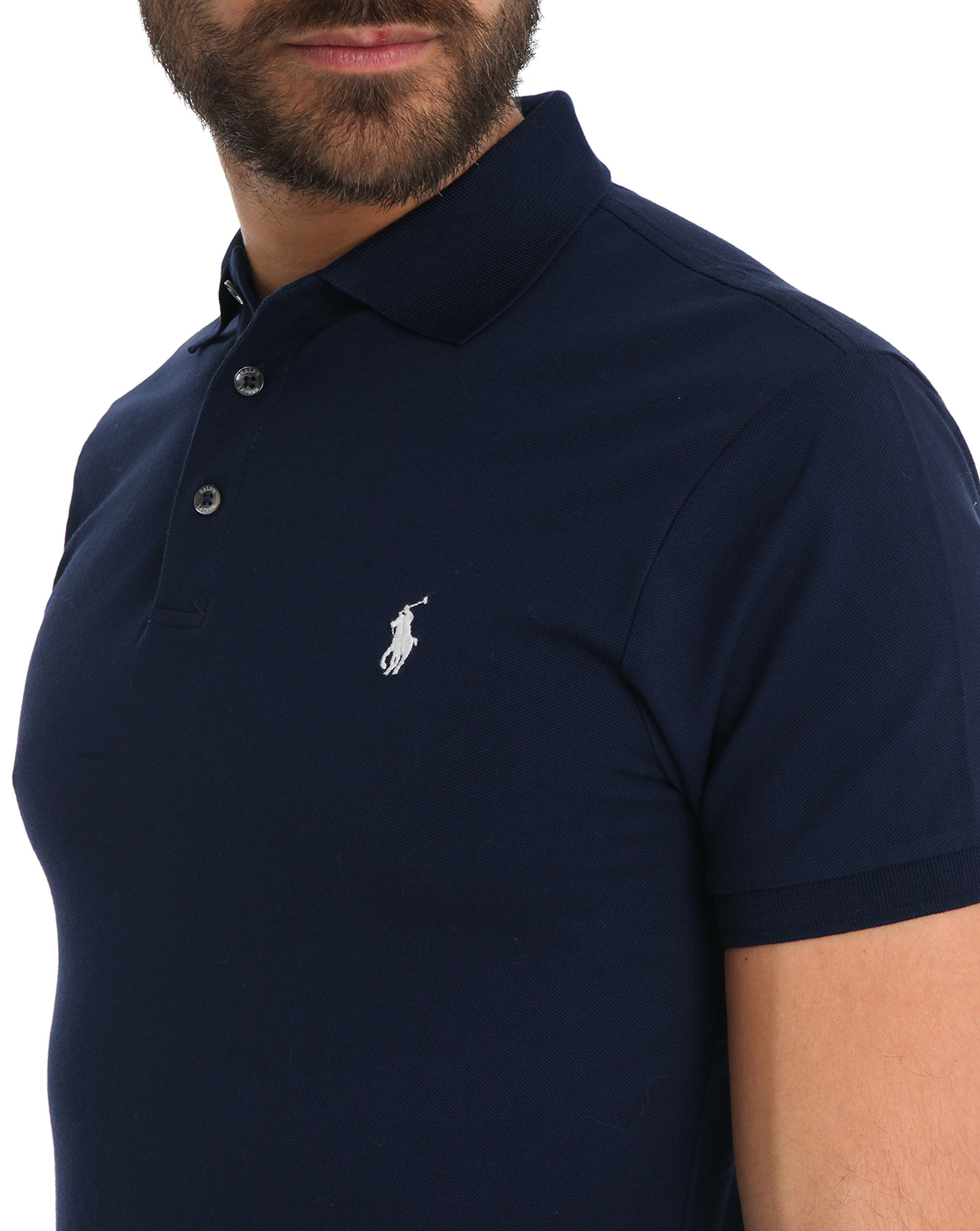polo ralph lauren navy stretch slim fit polo in blue for. Black Bedroom Furniture Sets. Home Design Ideas