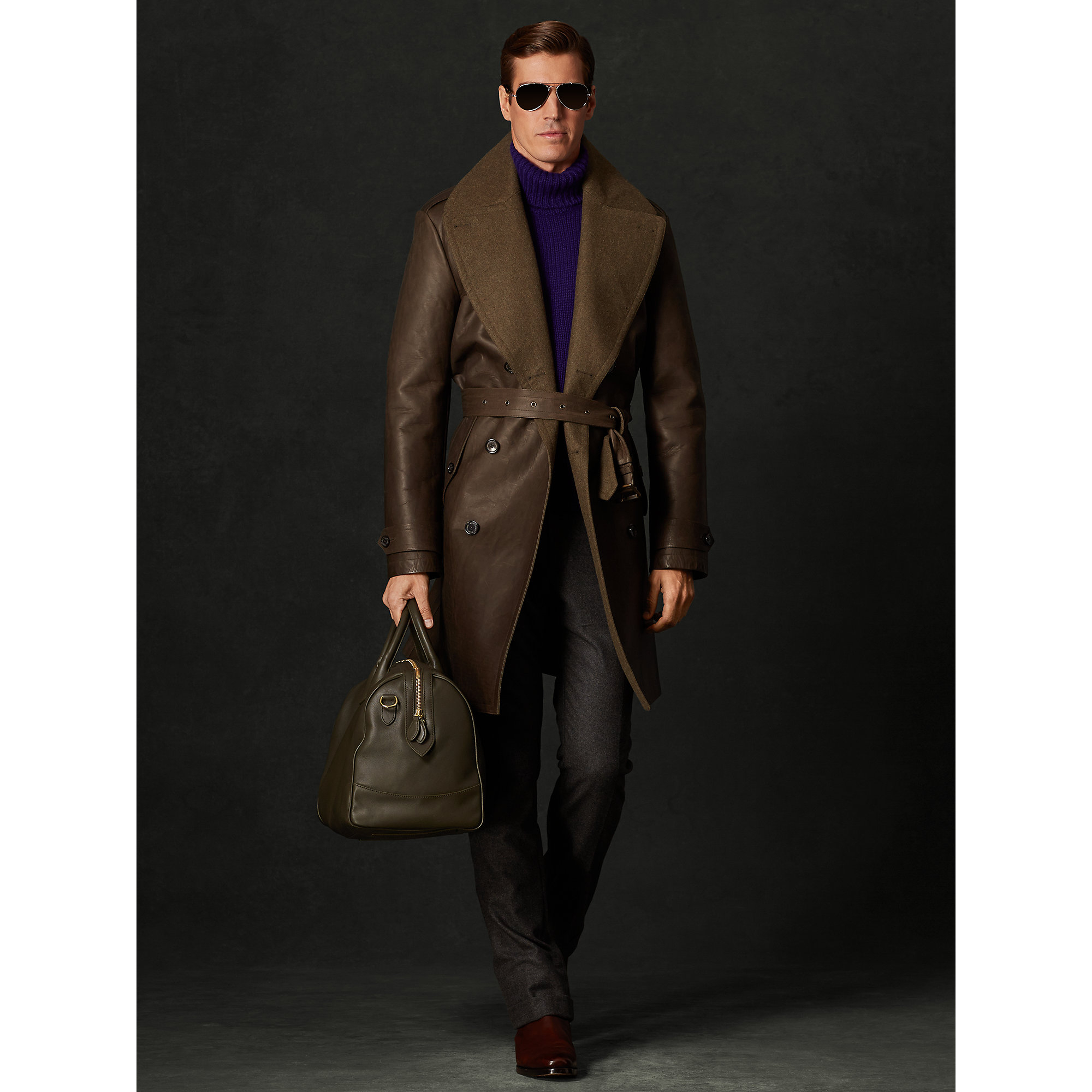Lyst - Ralph Lauren Purple Label Leather Fairfax Trench Coat in Brown for Men