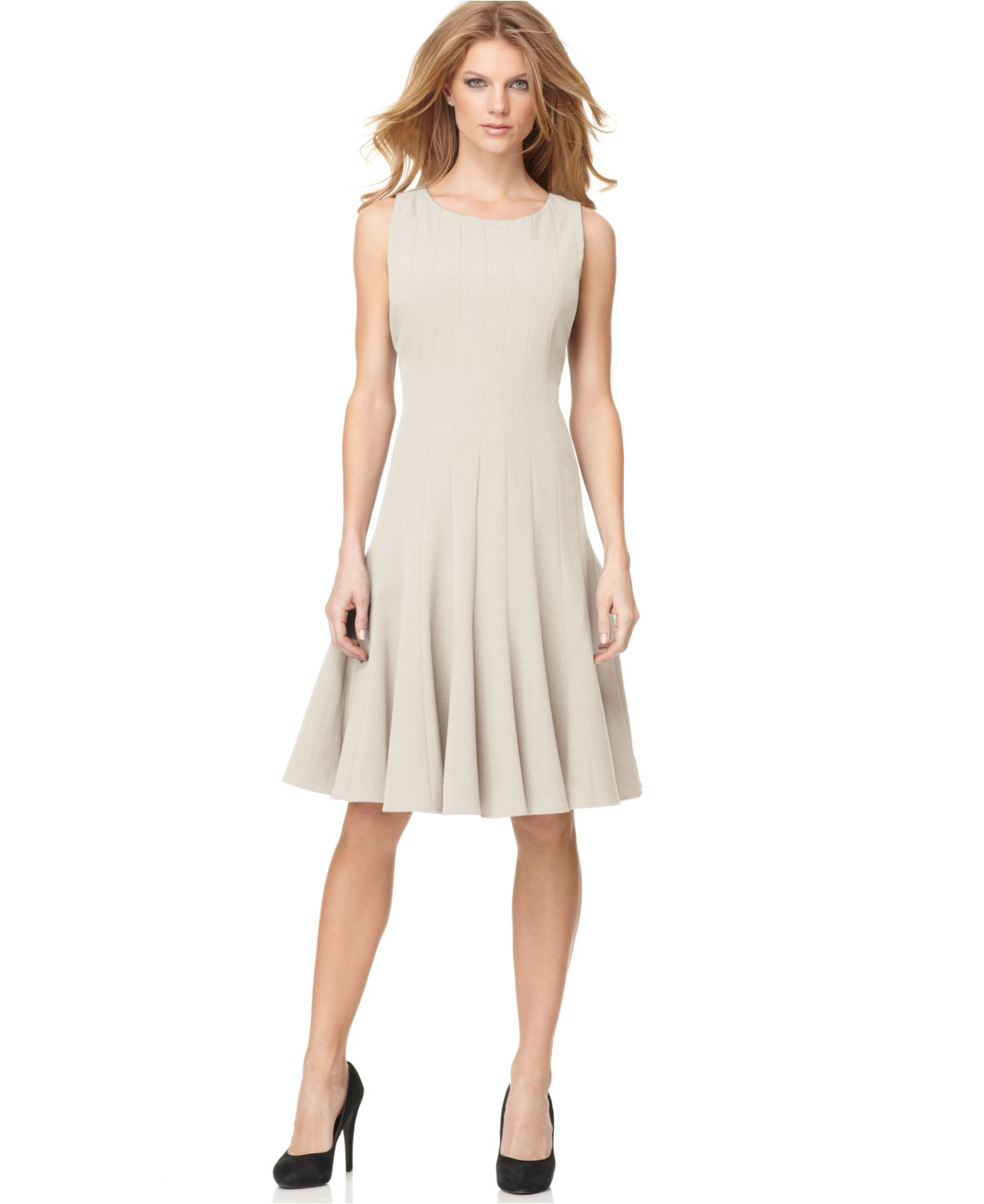 Calvin Klein Petite Sleeveless Seamed Dress In Natural | Lyst