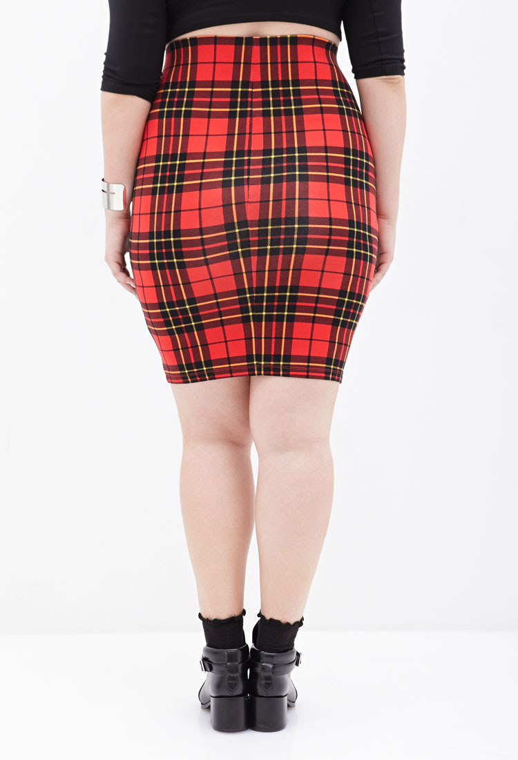 Plaid Pencil Skirts - Skirts