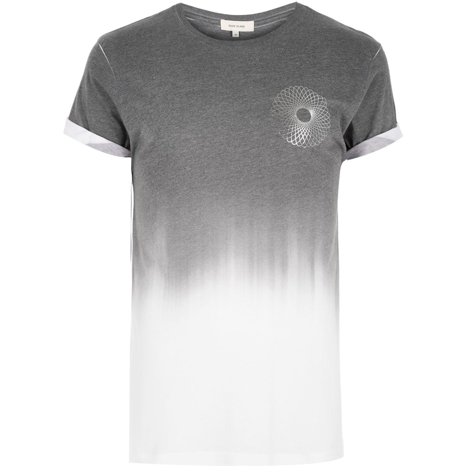 River island dark grey faded spiral print t shirt in gray for Faded color t shirts