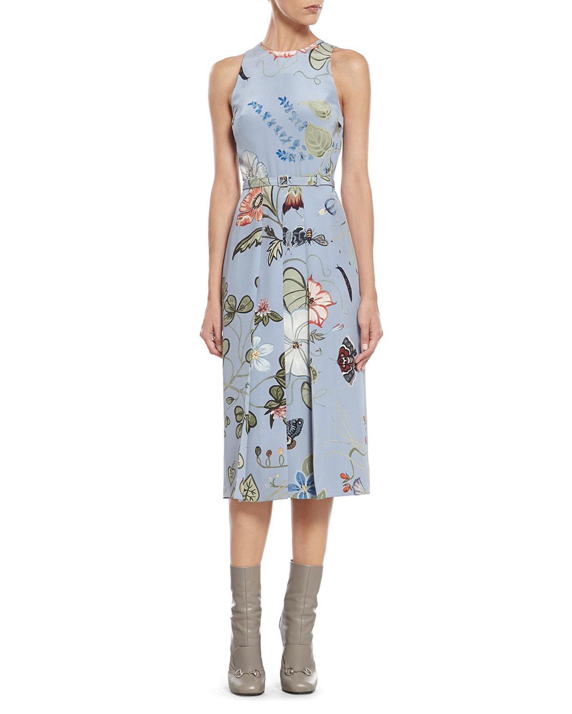 1fb9fa201 Gucci Floral Knight-Print Silk-Cady Dress in Blue - Lyst
