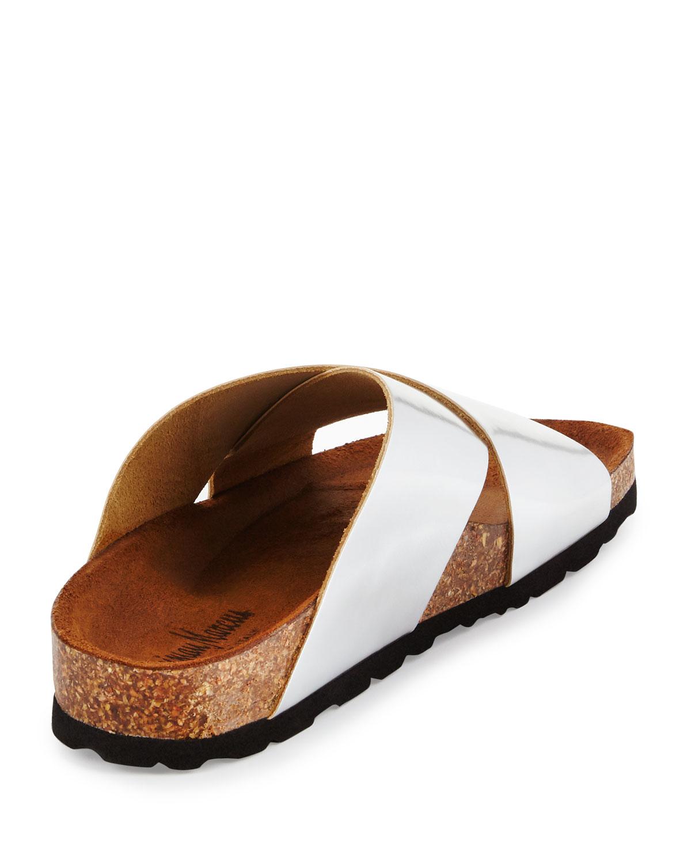 Neiman marcus Brenda Crisscross Slide Sandal in Metallic ...