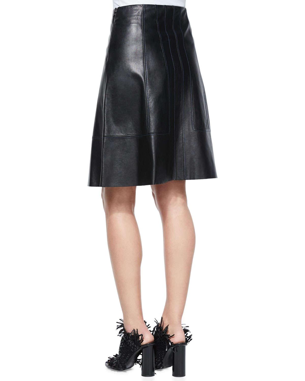 Proenza schouler Flared Lambskin Leather Skirt in Black | Lyst