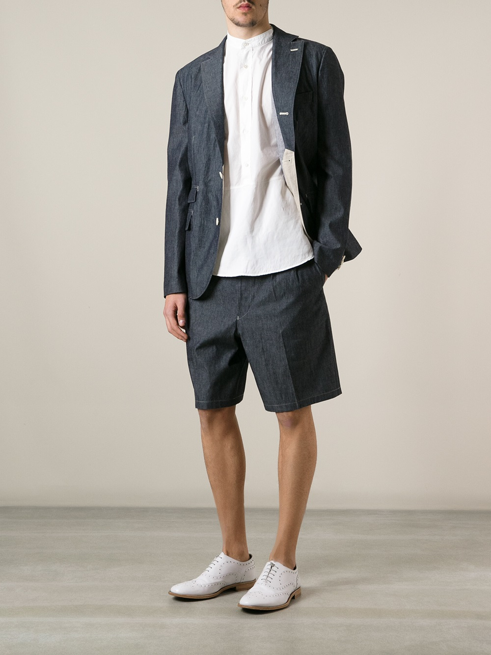 Junya watanabe Tailored Chambray Shorts in Gray for Men | Lyst