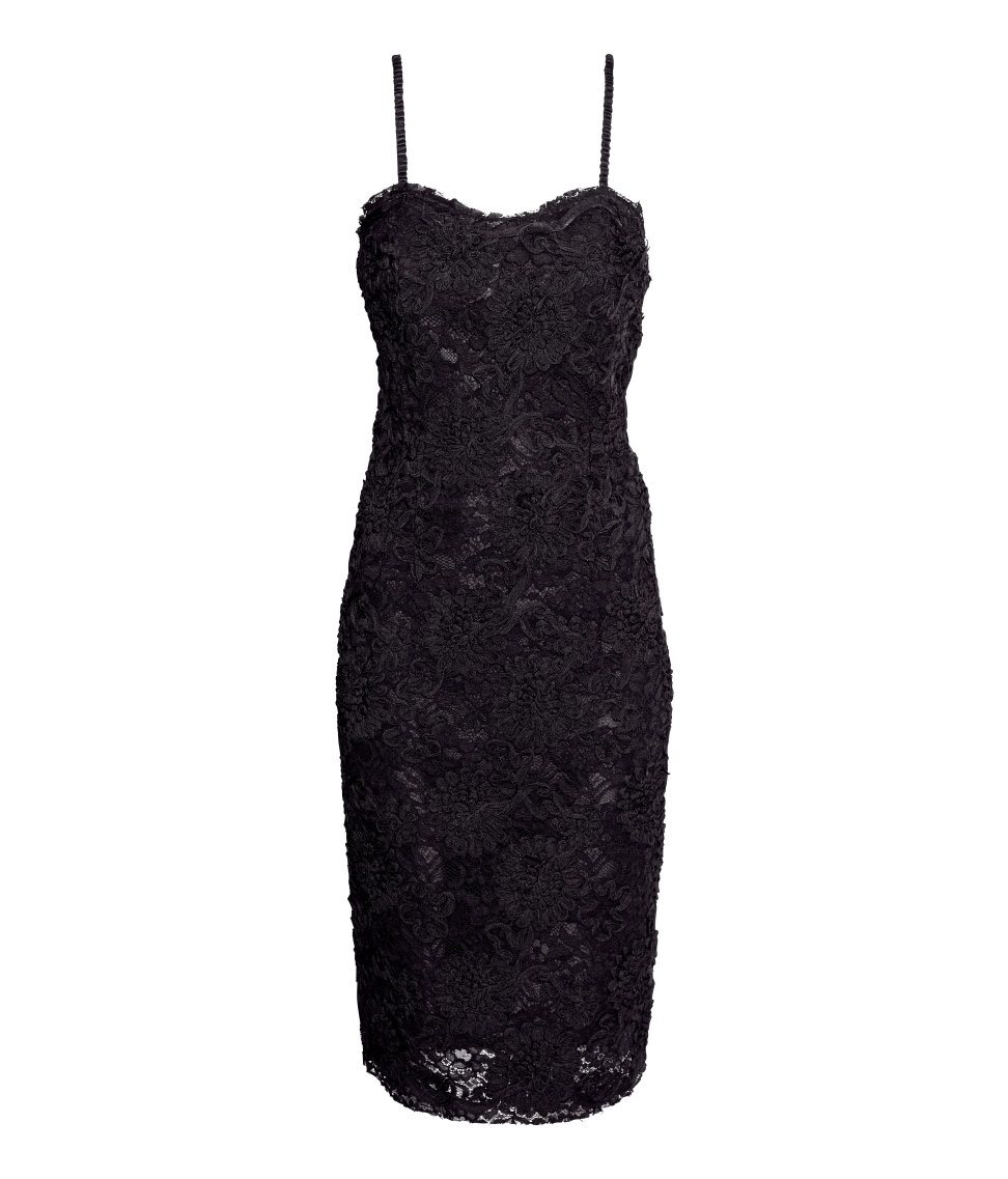 0c60b028cc0 Lyst - H M Lace Bandeau Dress in Black