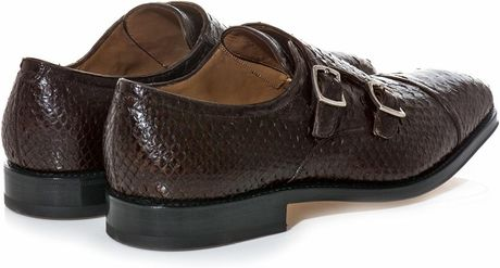 Ferragamo Duran Python Double Monkstrap Shoes in Brown for Men - Lyst