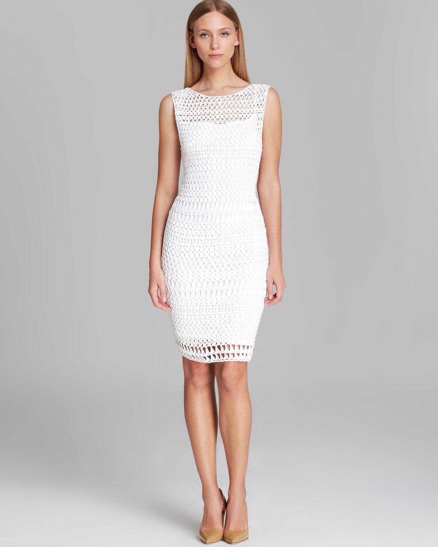 459ff059fd2c Lyst - Calvin Klein Dress Sleeveless Open Crochet in White