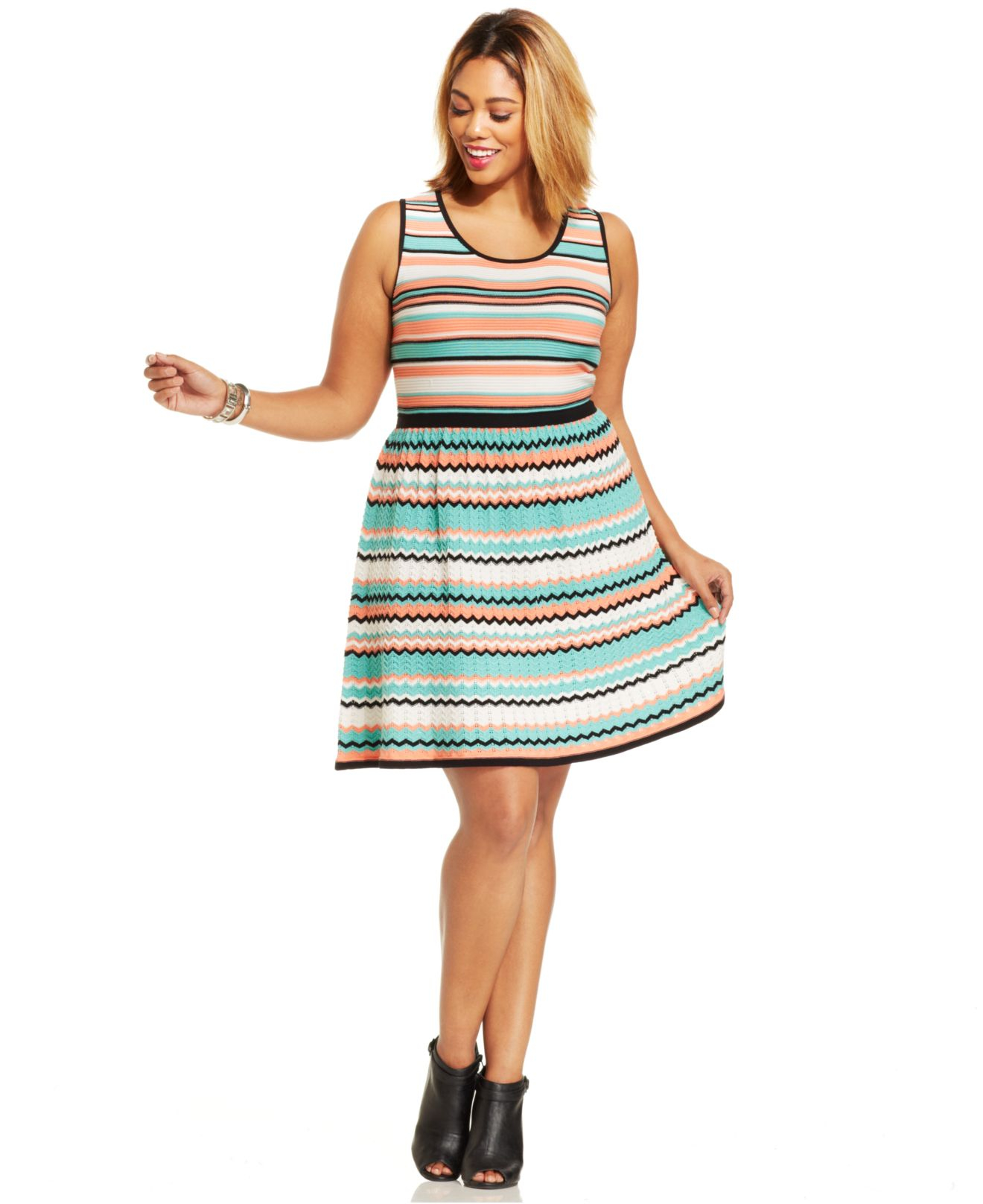Dknyc Plus Size Dress Sleeveless Ruffled Belted A Line Boulcom