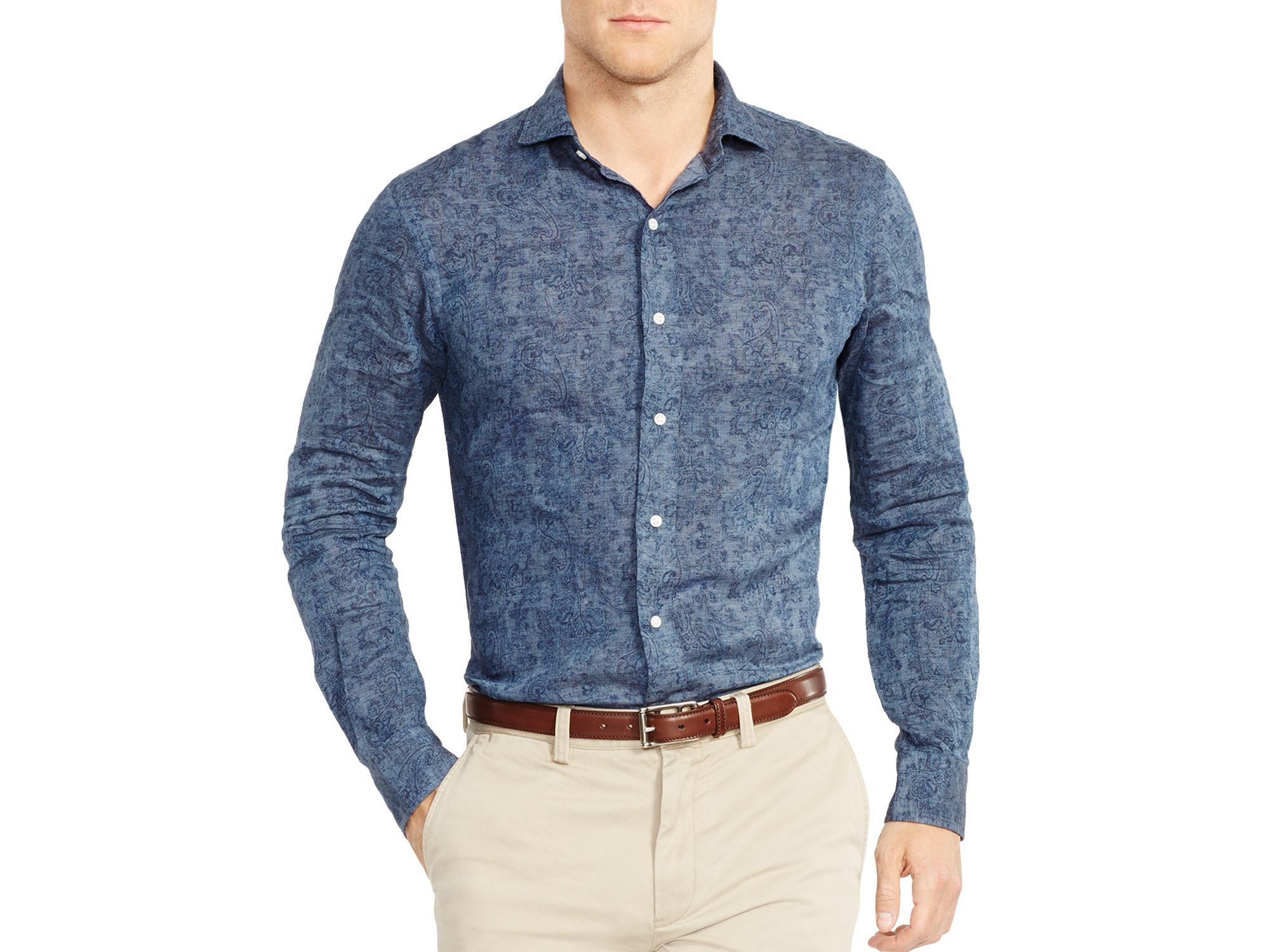 dab1ab1a995b Lyst - Ralph Lauren Polo Slim-fit Paisley Linen Estate Shirt in Blue ...