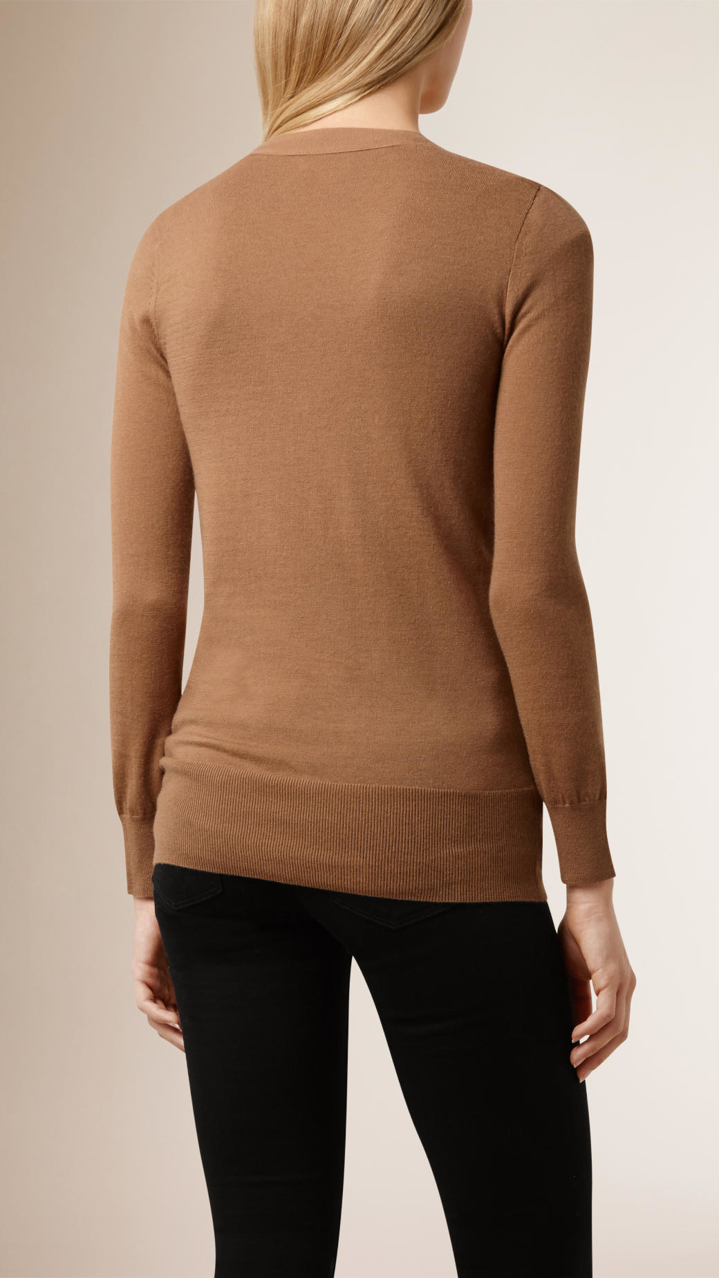 Beige V Neck Sweater