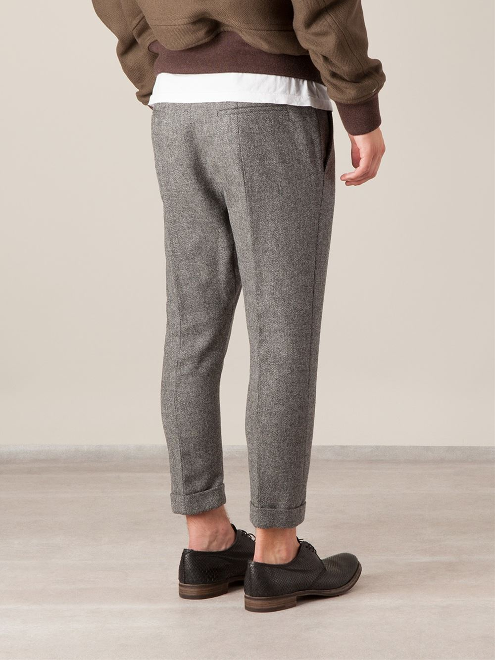 Haider ackermann Dropped Crotch Cropped Trousers in Gray for Men ...