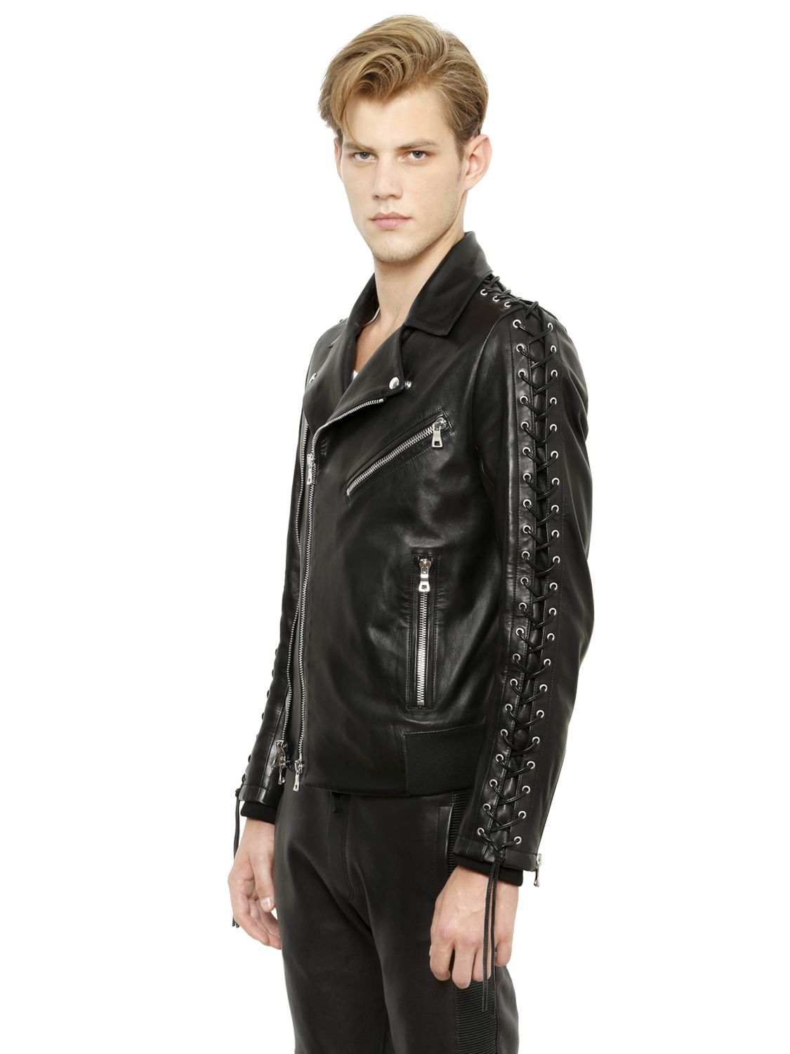 Balmain Lace Up Nappa Leather Moto Jacket In Black For Men