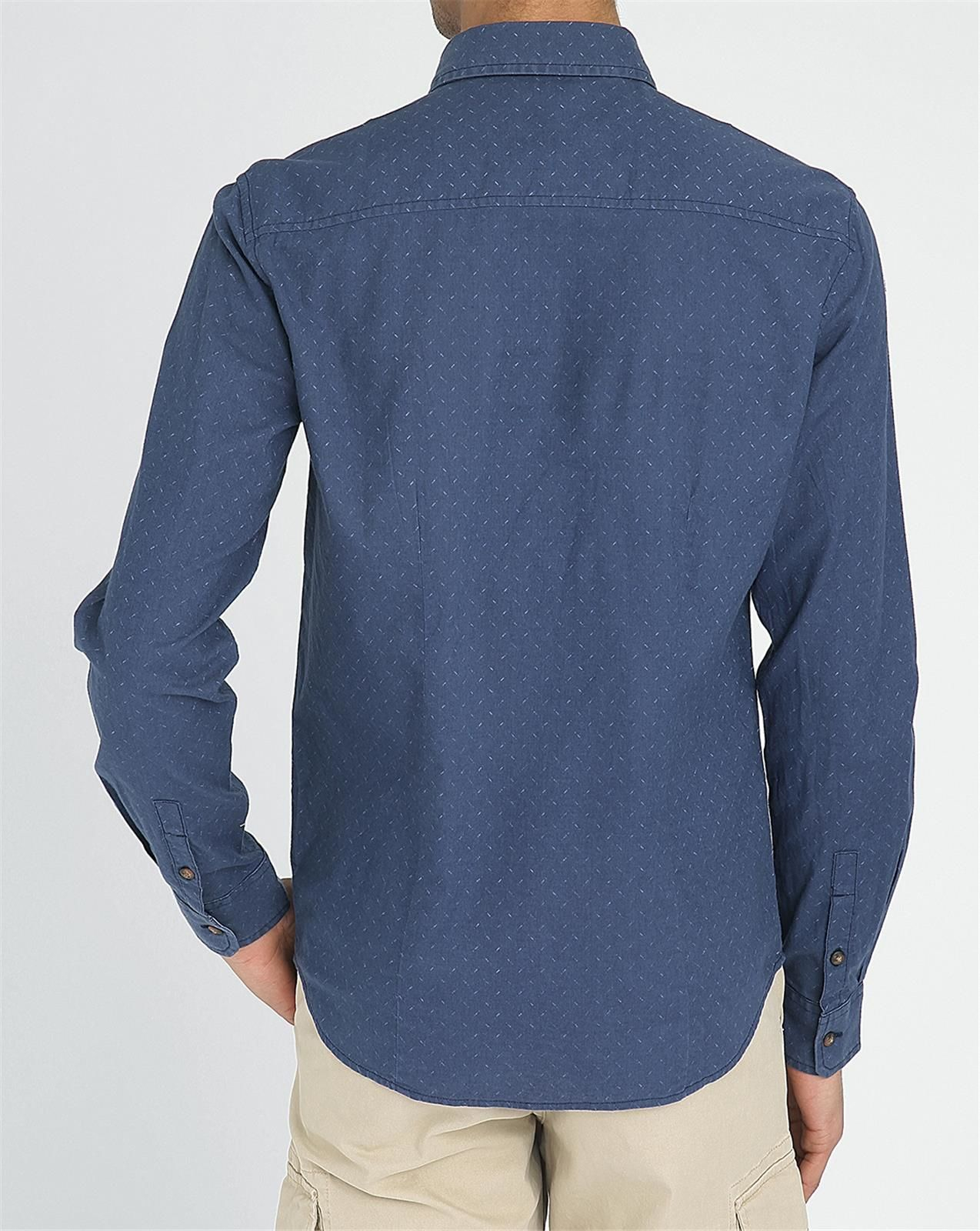Wrangler Navy Button Down Printed Shirt In Blue For Men