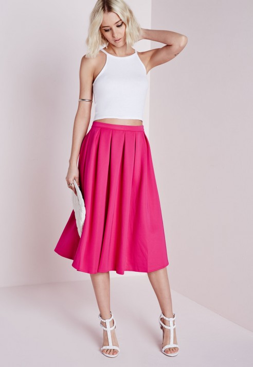 Missguided Auberta Pleated Midi Skirt Pink in Pink | Lyst