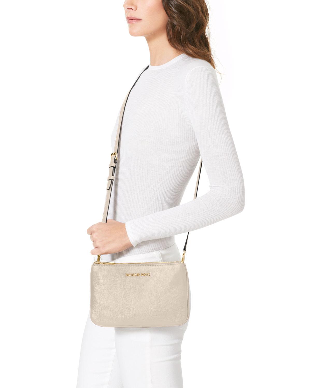 298a55444cde MICHAEL Michael Kors Bedford Gusset Crossbody Bag in Natural - Lyst
