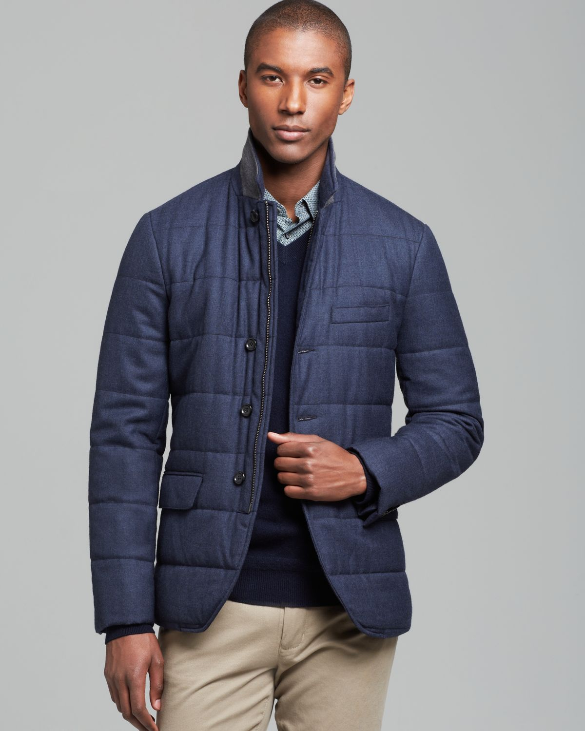 Quilted Blazers: Vince Wool Flannel Quilted Blazer In Blue For Men