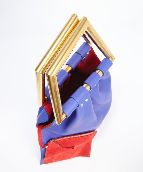 C��line Indigo Leather Asymmetrical Metal Top Handle Geometrical ...