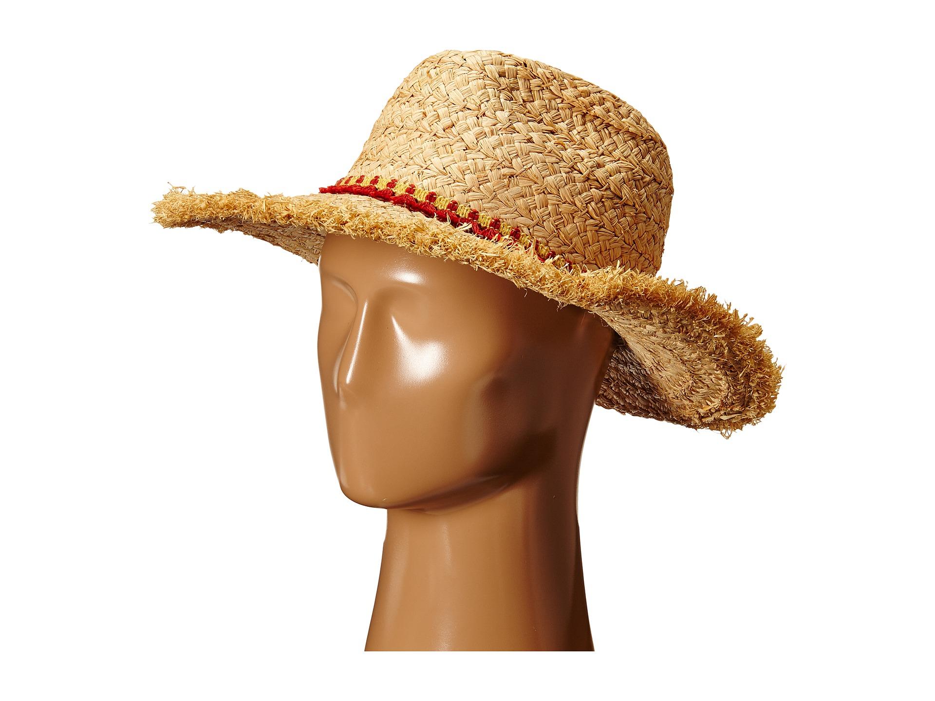 2320bb05446 Lyst - Hat Attack Thick Raffia Braid Fringed Sunhat With Tassel Trim ...