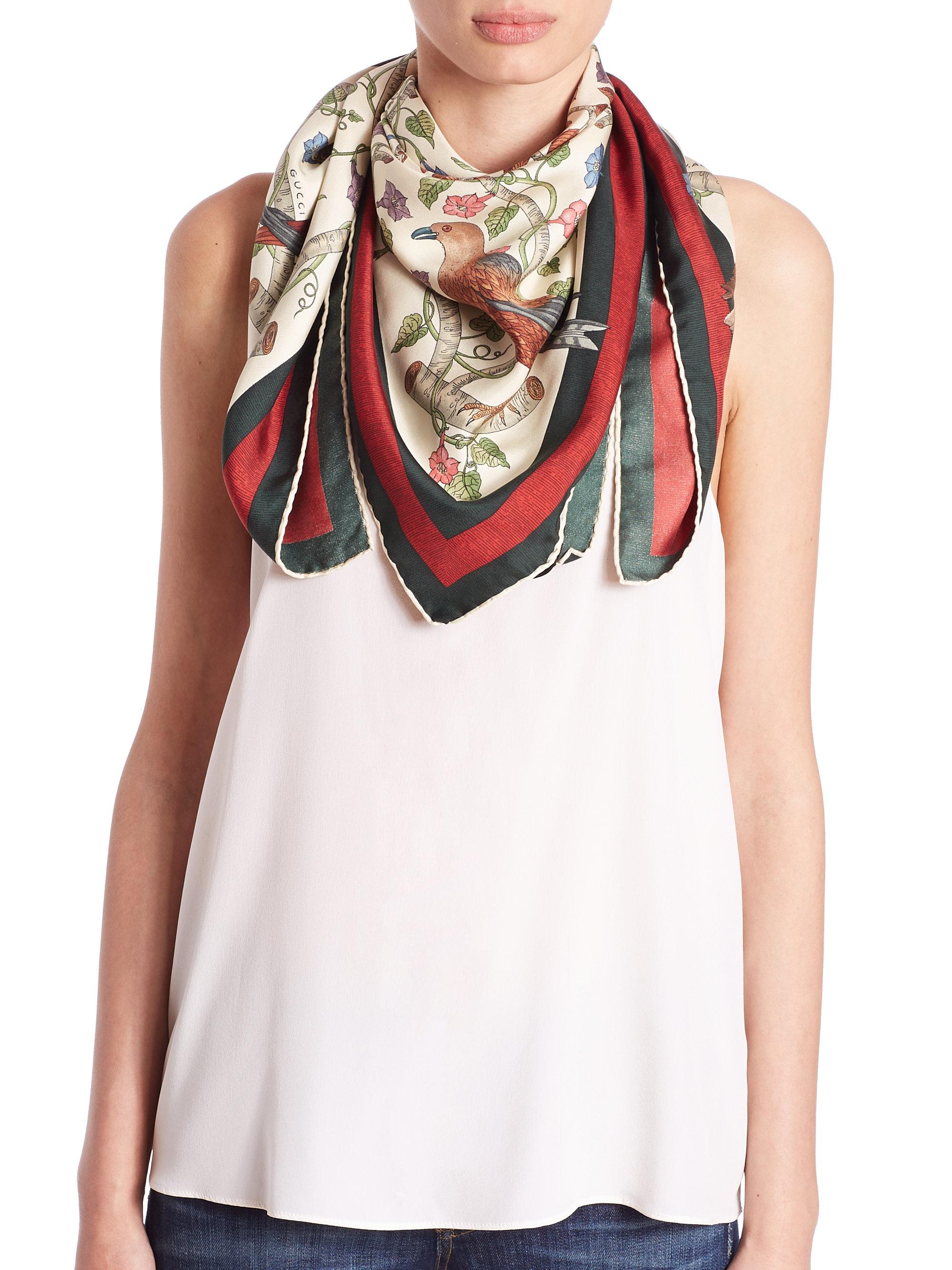gucci condor print silk foulard scarf in lyst