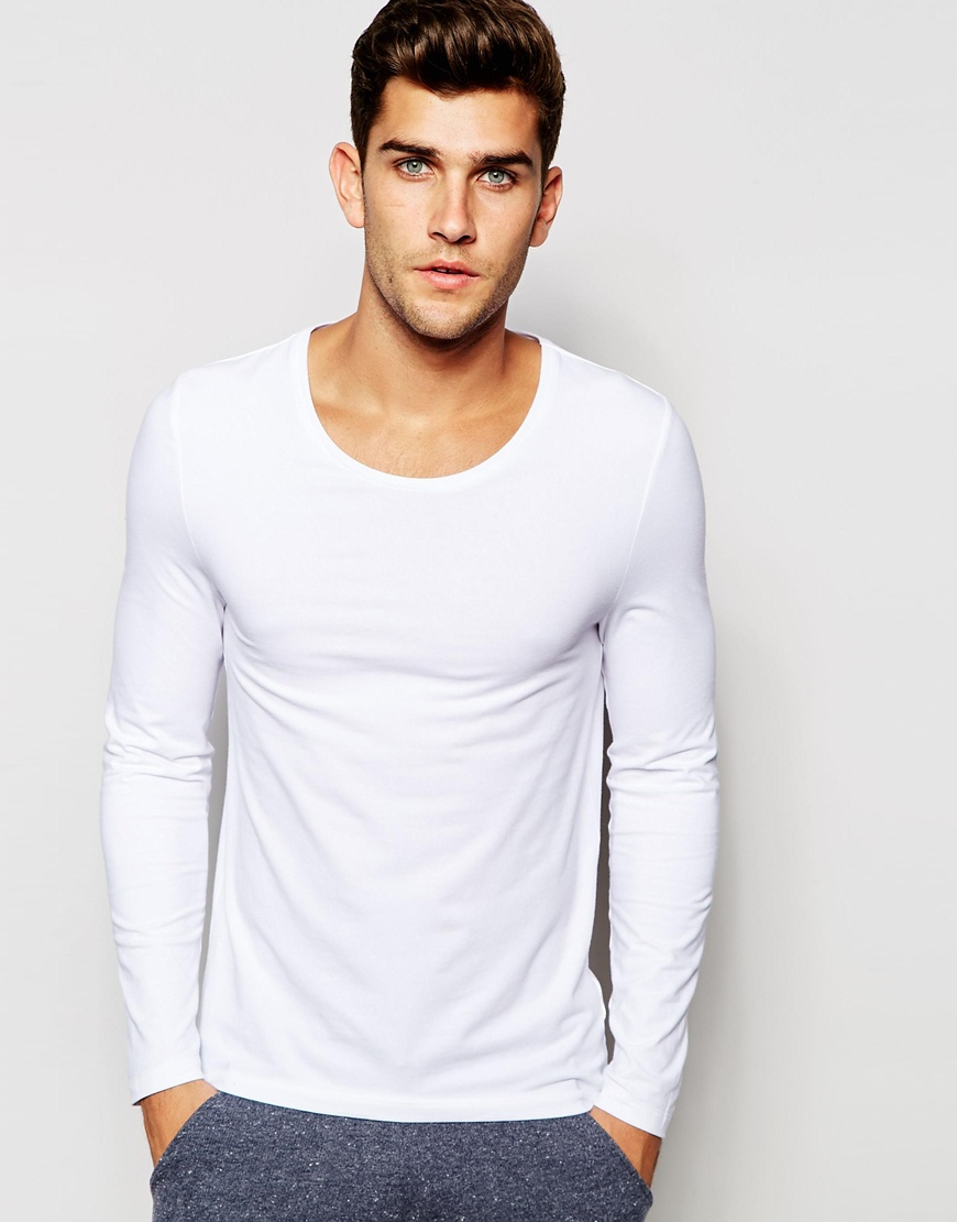 asos loungewear muscle long sleeve t shirt with scoop neck