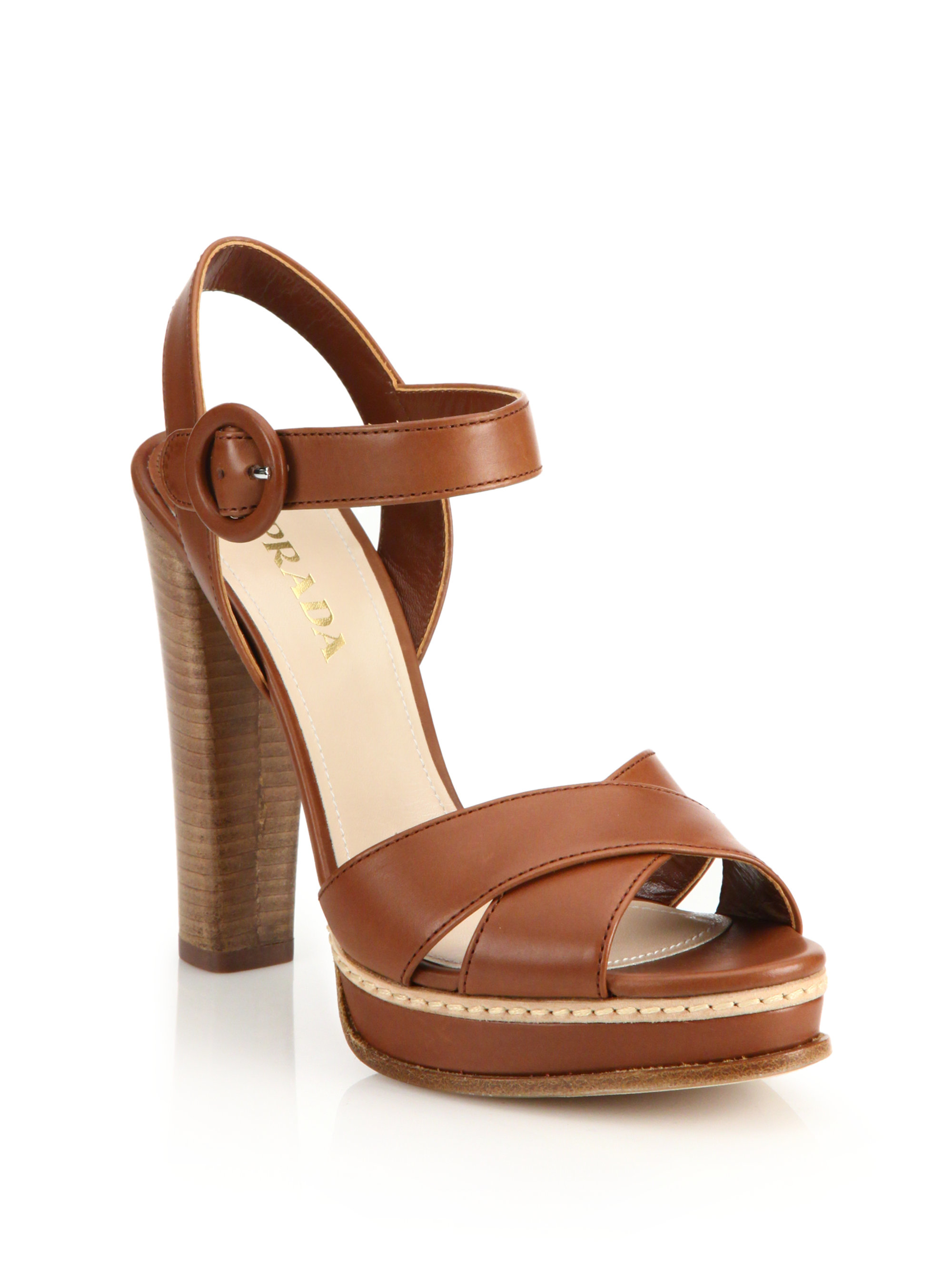 Prada Perforated Leather Bootie Sandals in Brown (COGNAC) | Lyst