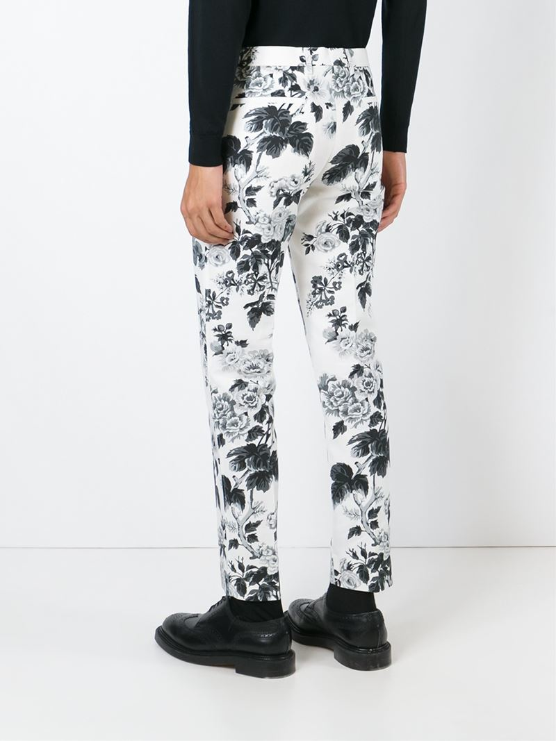 Lyst Dolce Gabbana Floral Print Trousers In White For Men