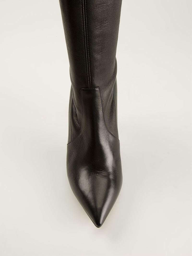 Casadei Knee High Stiletto Boots in Black | Lyst
