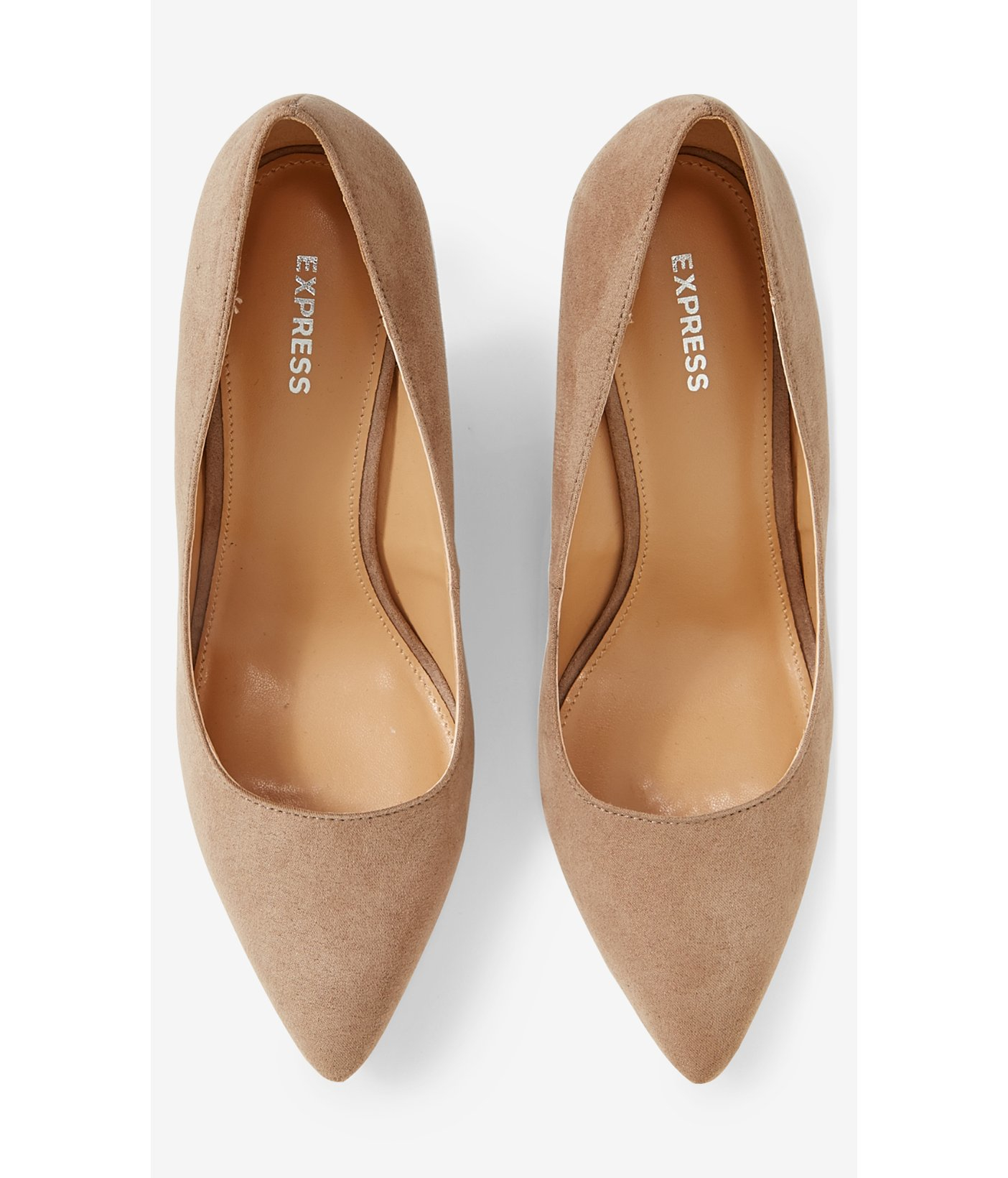 7cb4ca869e3 Lyst - Express Tan Faux Suede Pointed Toe Wedge Pump in Brown