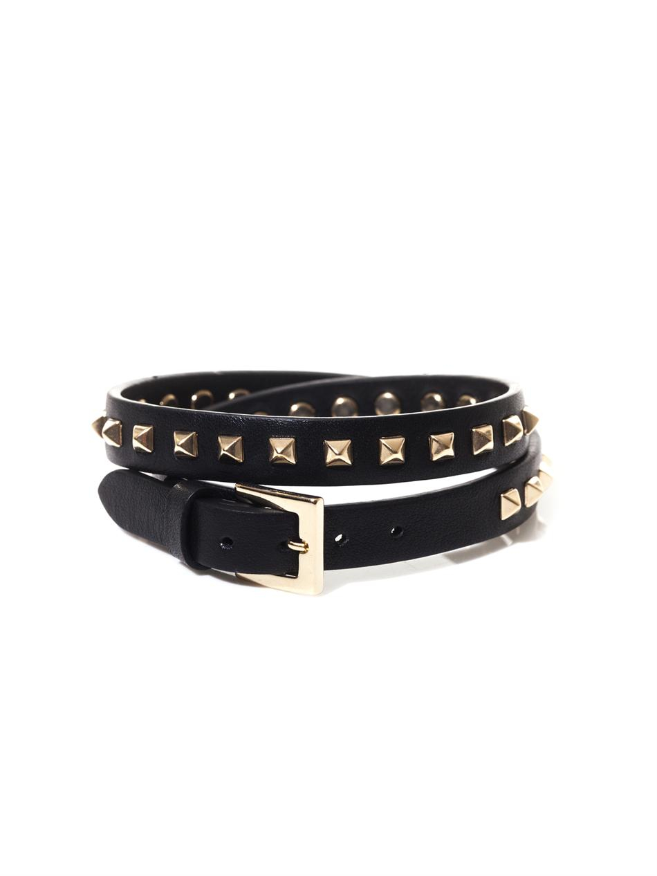 480e77bc588 Gallery. Valentino Studded Leather Wraparound Bracelet In Black For Men  Lyst -> Source. Punk Studded Double Wrap Black ...