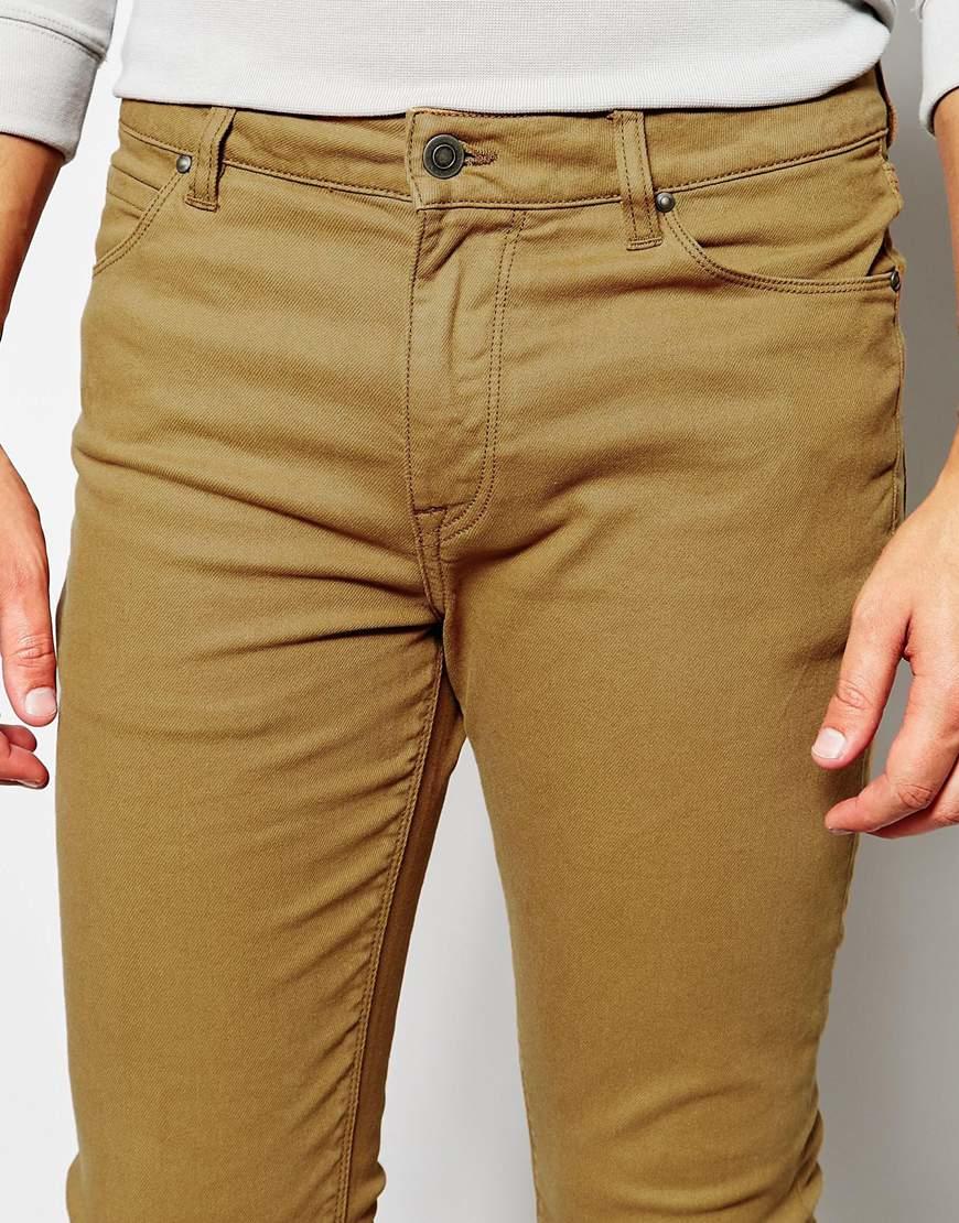 Asos Super Skinny Jeans In Dark Tan in Brown for Men | Lyst